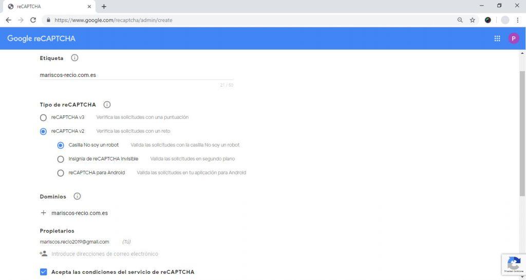 Registro y obtención de las claves en Google reCaptcha