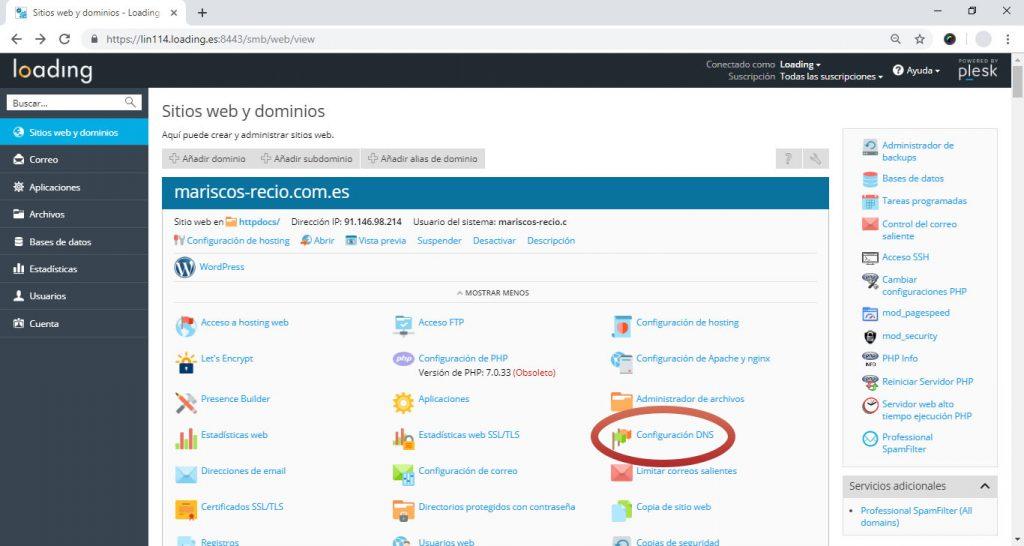 Verificando propiedad asociando un registro DNS